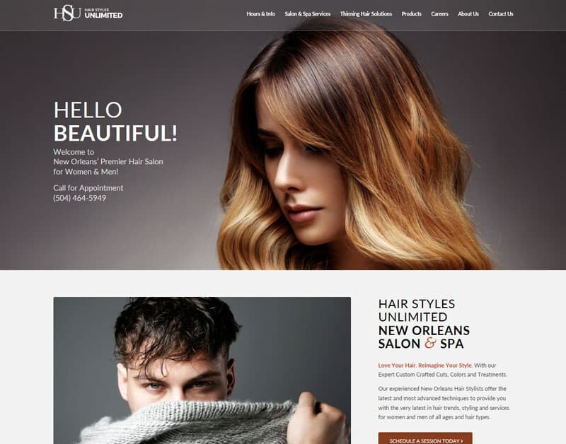 Hair replacement salon website design AHLC